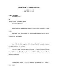 IN THE COURT OF APPEALS OF IOWA No. 0-349 / 09-1185 Filed ...
