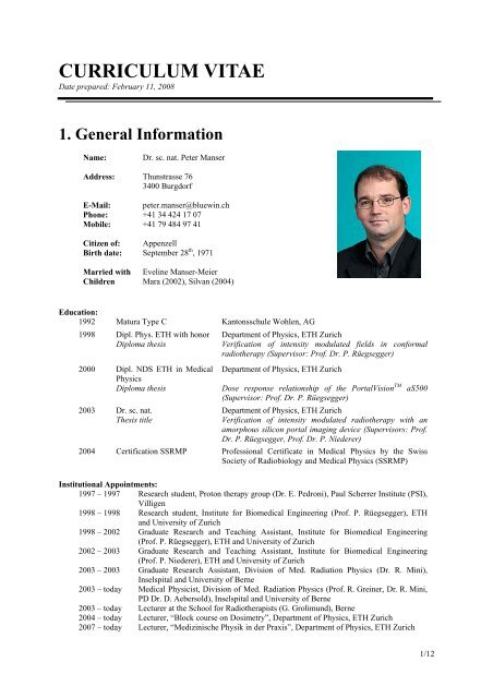 Curriculum Vitae Eth Zurich