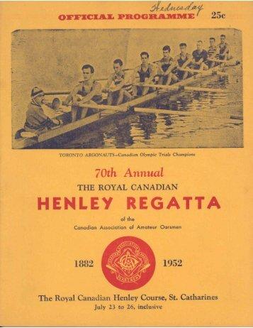 1952 - the Royal Canadian Henley Regatta Databases