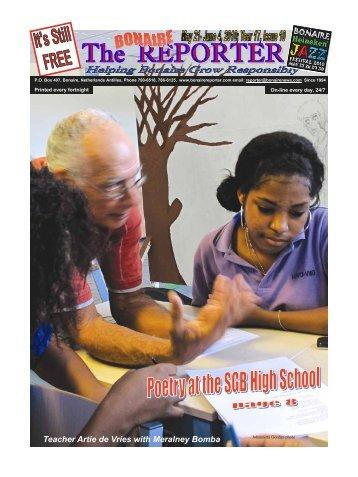 Teacher Artie de Vries with Meralney Bomba - The Bonaire Reporter