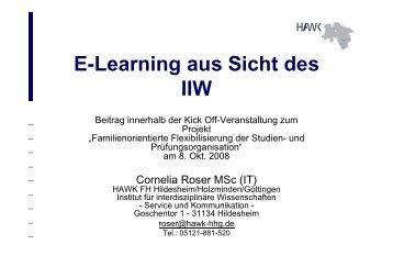 E-Learning aus Sicht des IIW - Mentoring - HAWK