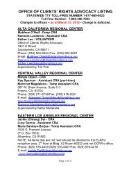 Office of Clients' Rights Advocacy Listing, April 2012