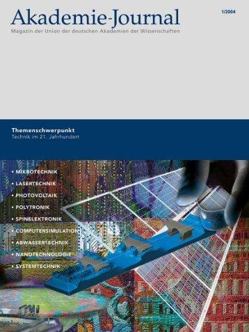 Akademie-Journal 1/2004 - Union der deutschen Akademien der ...