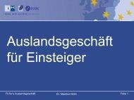 Dr. Manfred Gößl Folie 1 Fit für's Auslandsgeschäft