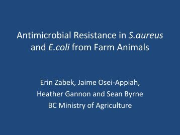 Antimicrobial Resistance in S.aureus and E.coli from Farm Animals