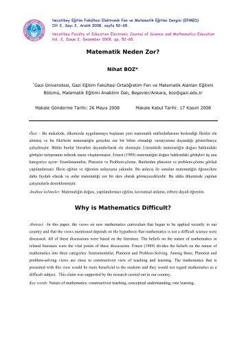 MATEMATİK NEDEN ZOR - Necatibey Eğitim Fakültesi