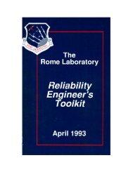 Rome Laboratory Reliability Engineer's Toolkit - Reliability Analytics ...