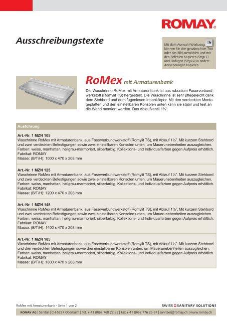 Ausschreibungstexte Romex Mit Armaturenbank Sanitar Romay Ag