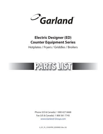 Electric Designer (ED) Counter Equipment Series - Garland Group