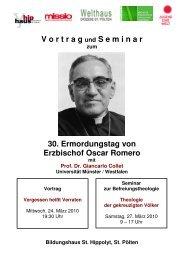 30. Ermordungstag von Erzbischof Oscar Romero - Jugend Eine Welt