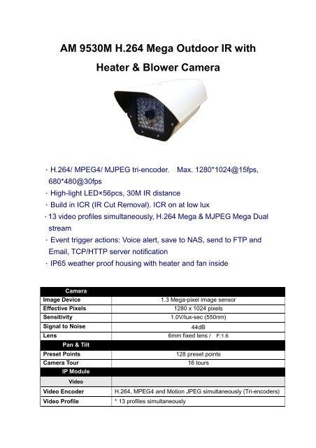 AM9530M H 264 Mega Outdoor IR IP with HeaterBlower