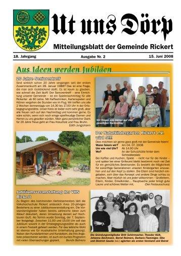 Aus Ideen werden Jubiläen - Gemeinde Rickert