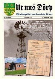 Unser Wasserwerk besteht seit 100 Jahren - Gemeinde Rickert