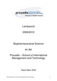 Bachelor Biopharmaceutical Science ab 2010 - Provadis Hochschule