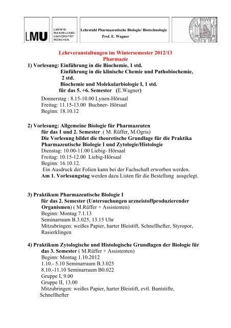 Lehrstuhl Pharmazeutische Biologie/ Biotechnologie - Fakultät ...