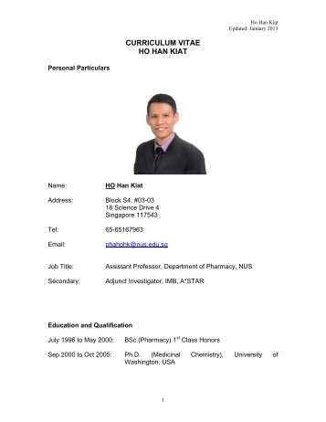 CURRICULUM VITAE - Department of Pharmacy