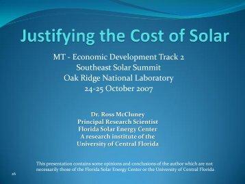 Justifying the Cost of Solar - Oak Ridge National Laboratory