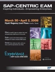 March 30 – April 2, 2008 - SAP-Centric EAM