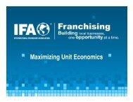 Maximizing Unit Economics - International Franchise Association