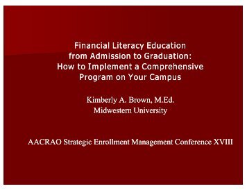 Financial Literacy Education from Admission to Graduation - AACRAO