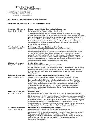 TV-TIPPS Nr. 477 vom 1. bis 14. November 2008 - Welthaus