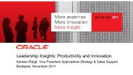 Leadership Insights: Productivitiy and Innovation - Oracle
