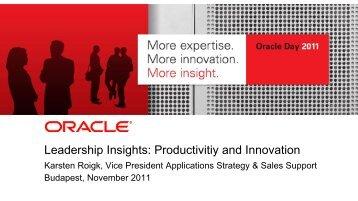 Leadership Insights: Productivitiy and Innovation - Oracle