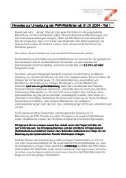 Hinweise zur Umsetzung der PAR-Richtlinien ab 2004