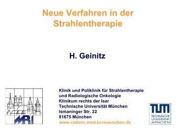 Neue Verfahren in der Strahlentherapie - Urologische Klinik und ...