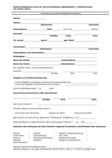 Anmeldung zur Beratung Praxis Schellmann