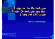 Aufgabe der Radiologie in der Onkologie aus der Sicht der Chirurgie