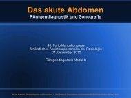 Das akute Abdomen Röntgendiagnostik und Sonografie