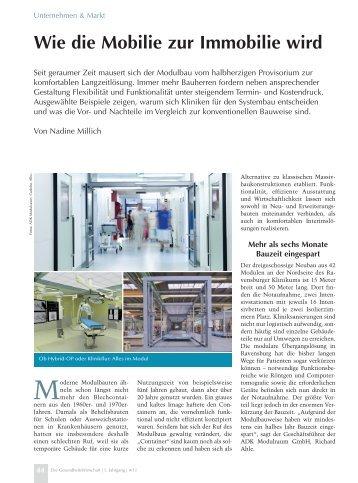 Die GesundheitsWirtschaft Nr. 04/11 - Alho Systembau GmbH