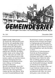 Nr. 144 Dezember 2009 - Evangelische Kirchengemeinde Ruit