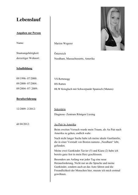 Lebenslauf Fur Sekundarschuler Word Vorlage 14
