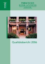 Qualitätsbericht 2006 der Paracelsus-Klinik Golzheim Düsseldorf