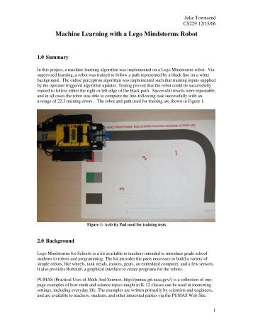 Machine Learning with a Lego Mindstorms Robot - CS 229