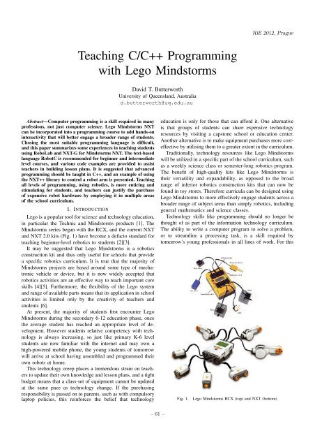 Teaching C/C++ Programming with Lego Mindstorms - KSI MFF UK