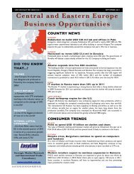 Central and Eastern Europe Business Opportunities COUNTRY NEWS