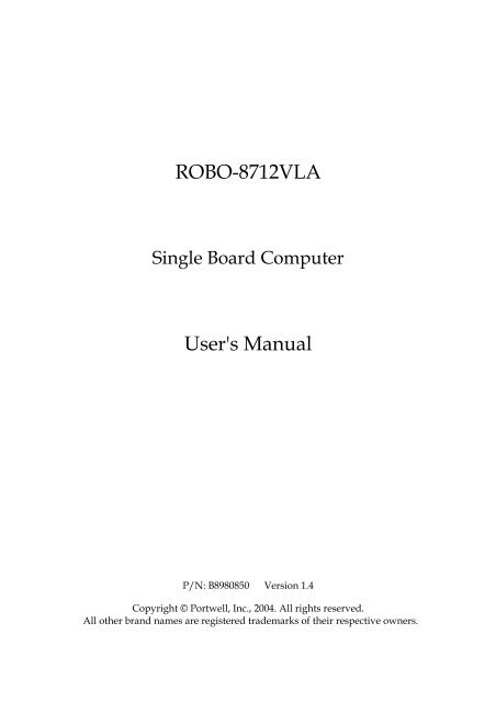 ROBO-8712VLA User's Manual - Index of