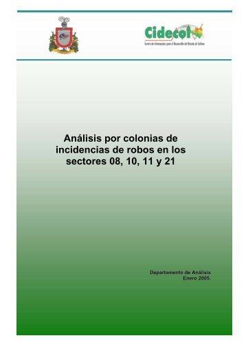 Análisis por colonias de incidencias de robos en los sectores 08, 10 ...