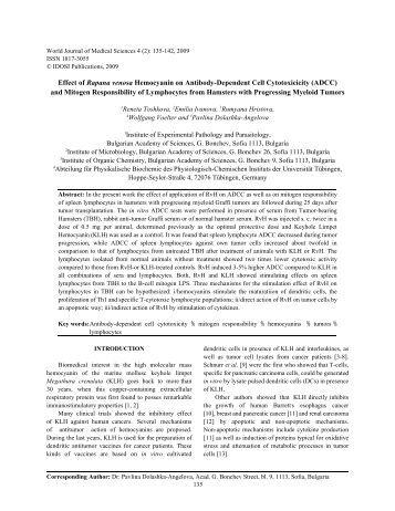 Effect of hemocyanin on antibody-dependent cell cytotoxicity