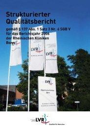 Qualitätsbericht 2006 - LVR-Klinik Bonn - Landschaftsverband ...
