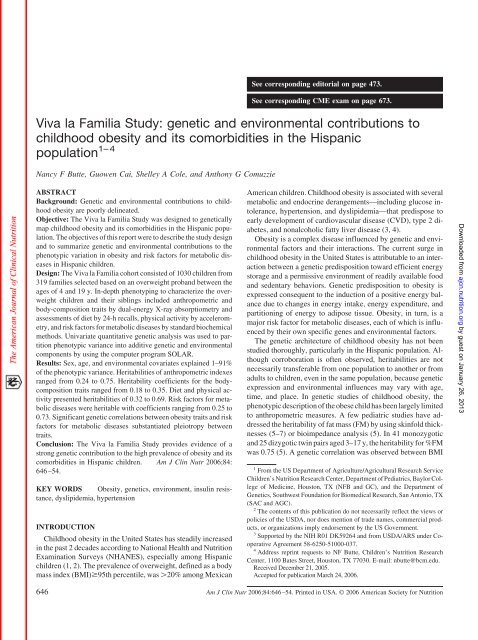 Viva La Familia Study American Journal Of Clinical Nutrition