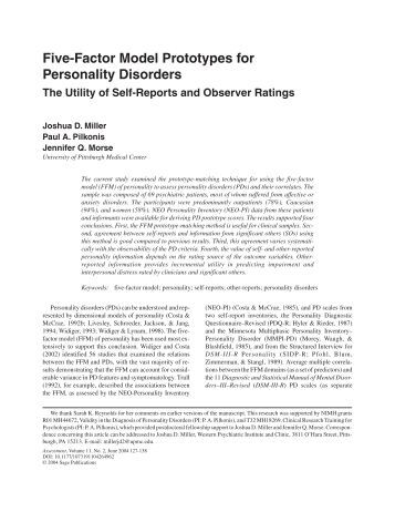 a discussion on the five factor model of personality The predominant dimensional model of general personality structure within psychology is the five-factor model (ffm) research indicates that the personality disorders of the american psychiatric association's diagnostic manual can be understood as maladaptive variants of the domains and facets of the ffm.
