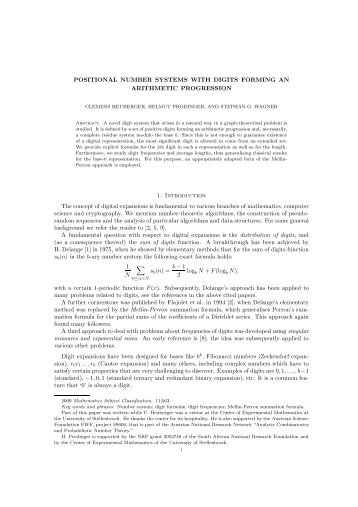 Positional number systems with digits forming an a - Institut für ...