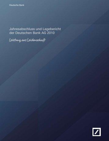 Jahresabschluss und Lagebericht der Deutschen ... - Deutsche Bank