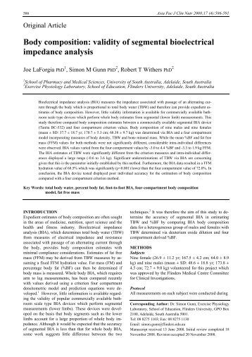 Body composition: validity of segmental bioelectrical impedance ...