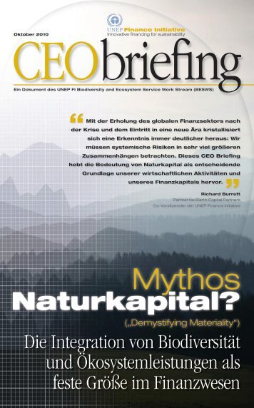 CEO Briefing - Mythos Naturkapital - UNEP Finance Initiative