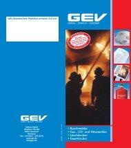 • Rauchmelder • Gas-, CO- und Hitzemelder • Löschdecken ... - GEV